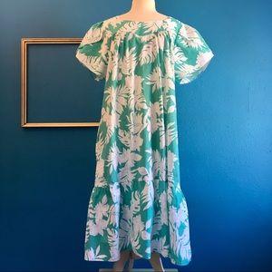 Teal & white tropical Mumu, sz XL